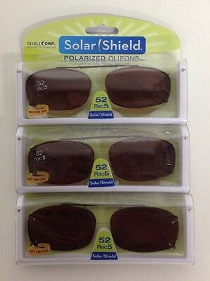 50 SOLAR SHIELD Clip-on Polarized Sunglasses Size 52 Rec 5 Brown Lens Full Frame