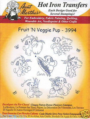 Fruit 'N Veggie Pup #3994 Aunt Martha's Hot Iron Embroidery Transfer Pattern