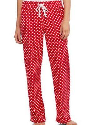 SECRET TREASURES Womens Pajama Sleep Pants M MEDIUM Red Polka Dot Flannel Cotton