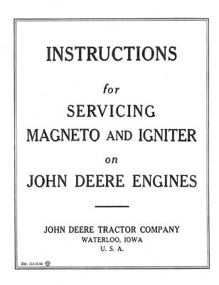 John Deere E Hit Miss Engine Magneto Book Manual