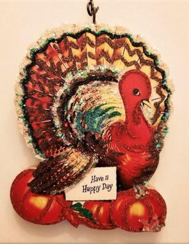 COLORFUL PLUMP TURKEY w PUMPKINS, HAPPY THANKSGIVING ORNAMENT * Vtg Img