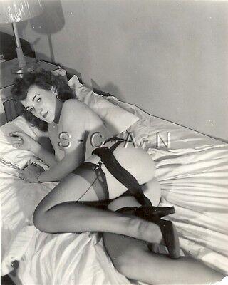 Org Vintage 40s-60s Nude RP- Well Endowed Woman In Bed- Stockings- Panties- Butt