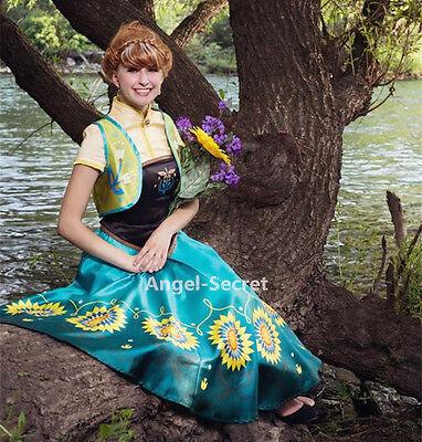 Frozen Dresses For Adults (J959 Anna women costume frozen fever full set spring cosplay sunflower adult)