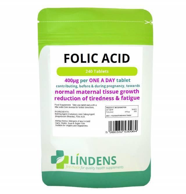 acido folico compresse,240 400MCG - UNA AL GIORNO (acido folico,vitamina B-9) UK