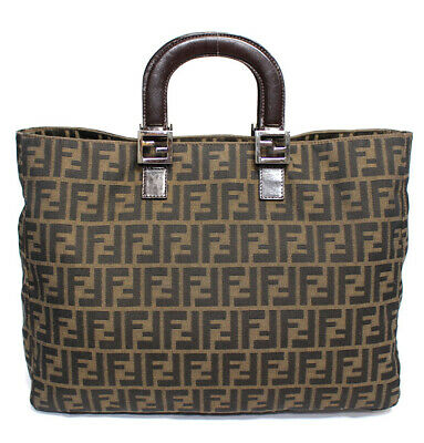 FENDI Zucca Canvas & Leather Handbag #52678 free shipping from Japan