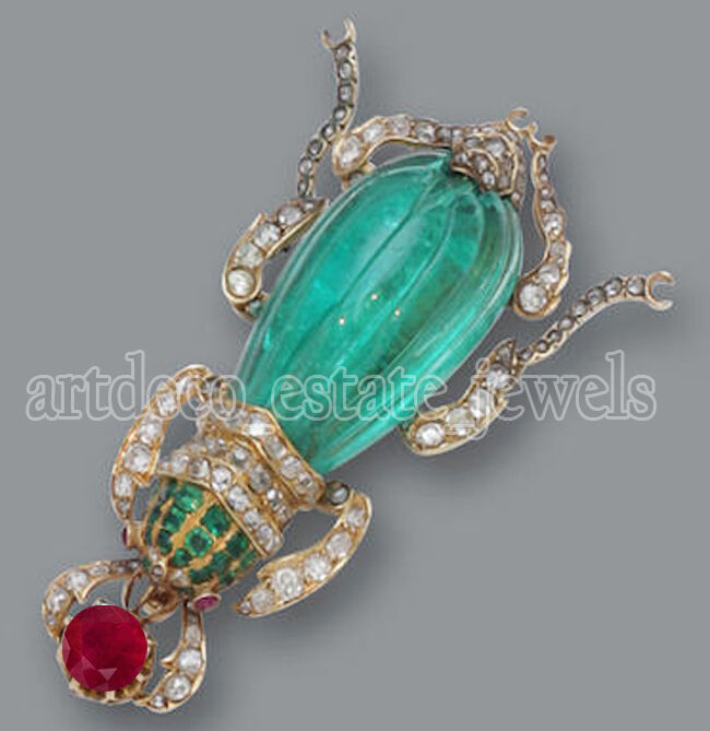 3.09ct ROSE CUT DIAMOND EMERALD RUBY 925 SILVER VICTORIAN LOOK VALENTINE BROOCH