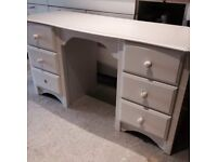 Marks And Spencer M&S St. Michael Solid Wood White Dressing Table Desk With Drawers