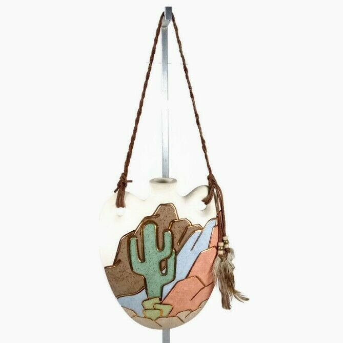 Southwestern Vintage Ceramic Canteen Hanging Wall Decor Unbranded Cactus Accent
