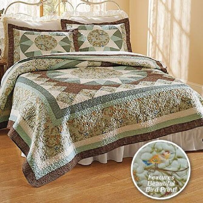 Bird Print Quilt Bedspread Cotton Front Polly-fill Bed Full Queen King Cotton Bedding