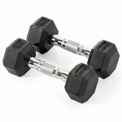 York Rubber Hex Dumbbells 2 x 2.5kg Cross-fit Fitness Weight Lifting Dumbbells