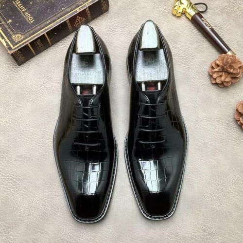 Retro Men/'s Genuine Leather Lace UP Formal Dress Shoes Pointy Toe Wedding Shoes