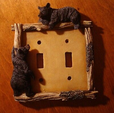 BLACK BEAR DOUBLE TOGGLE LIGHT SWITCH PLATE SWITCHPLATE CABIN WALL COVER DECOR