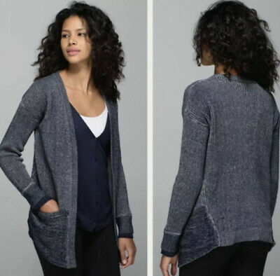 Lululemon vestigan sweater vest cardigan size 8 10 blue 2 in 1