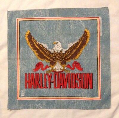 Vintage Harley Davidson Faux Denim 27-Inch Eagle Bandana Bandanna