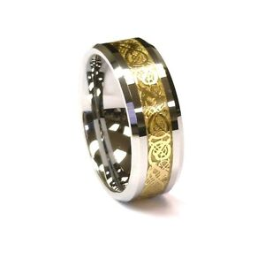 8Mm-Gold-Celtic-Dragon-Tungsten-Carbide-Ring-Mens-Jewelry-Wedding-Band-All-Size