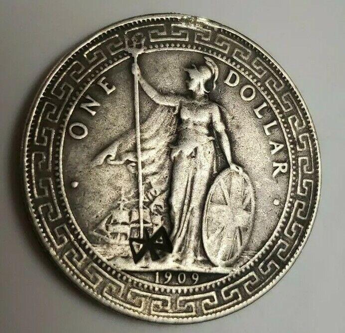 GREAT BRITAIN 1909 SILVER TRADE DOLLAR Chopmark COIN