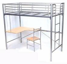 Top Single Metal Bunk Bed with Desk Underneath + Chair Mullumbimby Byron Area Preview