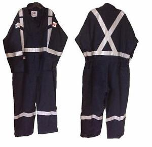 """Geliget Flame Resistant Navy FR Coveralls with 2"""" Tape, Size 54""""R (BRAND NEW)"""