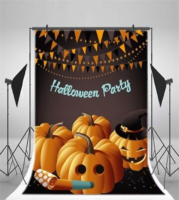Cute Halloween Background (Halloween Party Cute Pumpkin Photo Backgrounds 5x7ft Vinyl Photography)