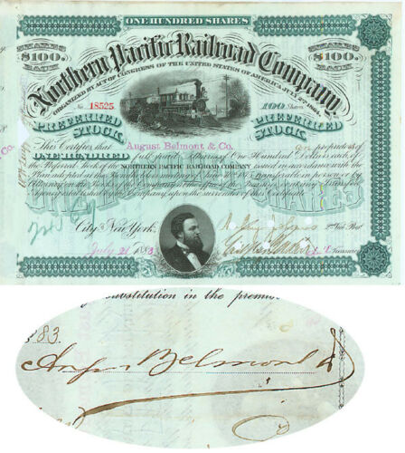 Issued to and Signed by August Belmont