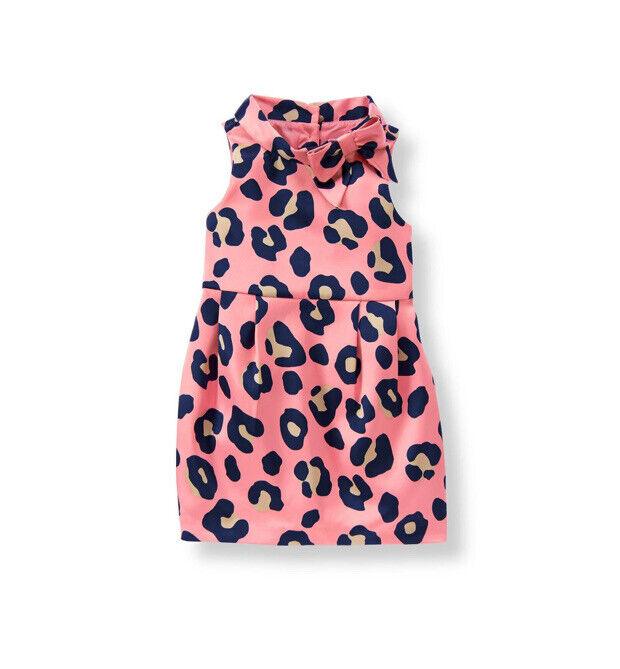 NWOT Girls Sz 18-24 Months JANIE & JACK Vivid Pink Lepoard Satin Dress