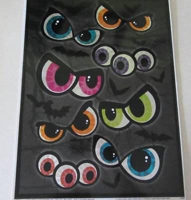 HALLOWEEN HOLOGRAPHIC SPOOKY EYES BATS WINDOW CLINGS INDOOR DECORATIONS 14 PCS - Halloween Window Clings