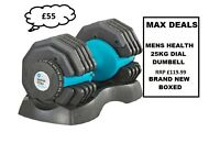 MEN'S HEALTH DIAL DUMBELL 25KG X 1 BRAND NEW BOXED RRP £119.99