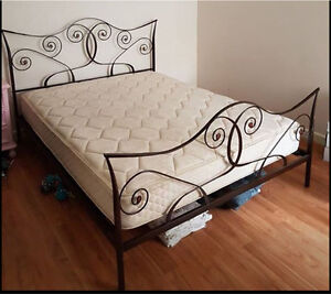 Queen size bed frame iron and mattress good condition Flemington Melbourne City Preview