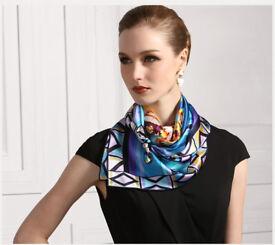 Elegant Women Ladies Geometric Print Scarf Neckerchief Blue