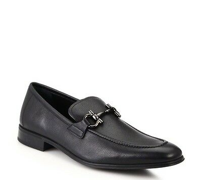 100  Authentic Salvatore Ferragamo Rigel Leather Loafers 10 5 Ee Black