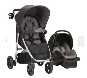 Slightly used Evenflo Stroller and Car seat with base for sale
