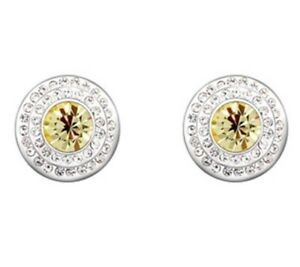Swarovski-Inspired Earring Studs - White Lemon - Yellow Cronulla Sutherland Area Preview