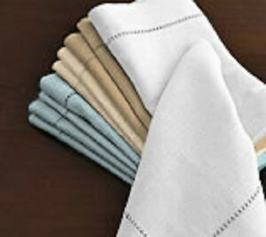 1-Dozen-White-Linen-Look-Hemstitch-20-x20-Cotton-Dinner-Napkins