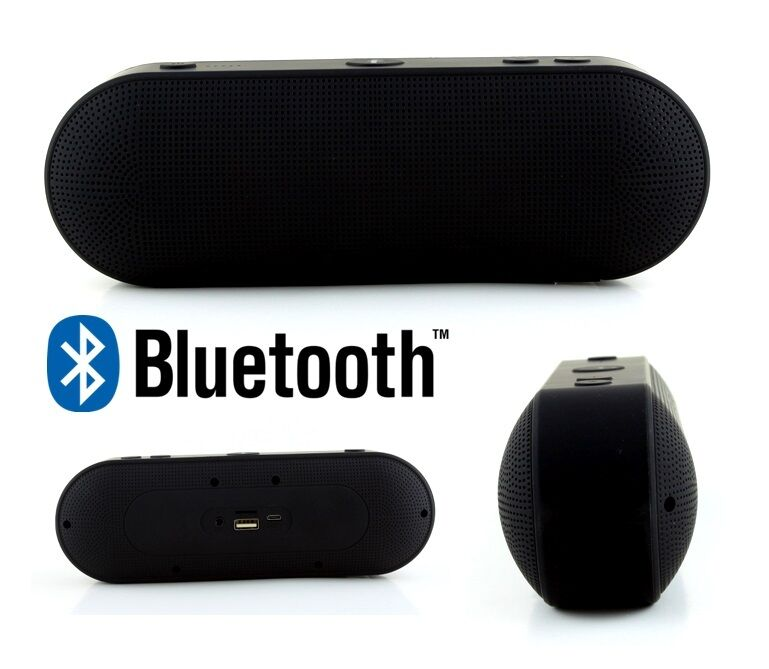 Bluetooth Portable Speaker Wireless Bass Stereo Pc New Tablet Rechargeable Black