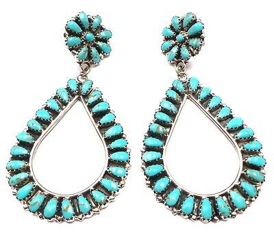 Navajo Handmade Turquoise Sterling Silver Cluster Post Earrings By Rose Williams