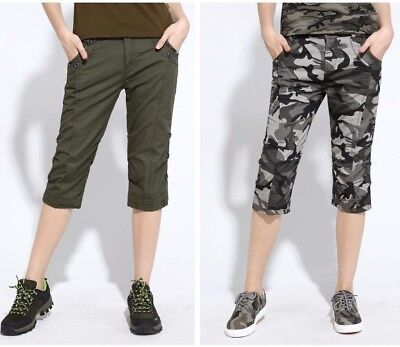 Women Camouflage Slim Medium Waist Military Style Joggers Casual Capri Plus -