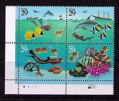 US USA SC 2866A MNH FVF PL BLOCK  SEA SCUBA DIVER BOAT SHIP WHEEL FISH CORAL