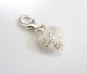 925 Sterling Silver -  'PUFFED STARDUST HEART'  - Clip On Charm fits Bracelet