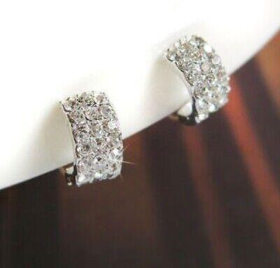 Cubic Zirconia Cluster Earrings - Cubic Zirconia CZ Cluster Silver Earrings Pierceless Clip On U Shape Huggie