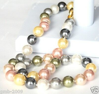 10mm Natural Multicolor South Sea Shell Pearl Round Gemstone Necklace 18