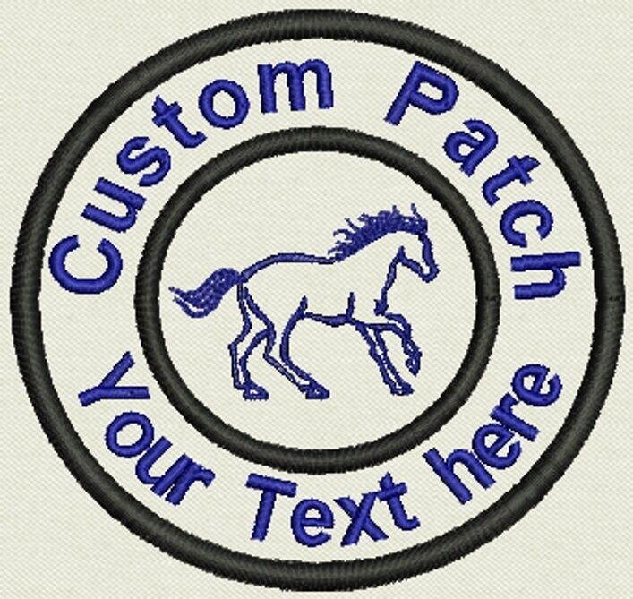 """3.5"""" Circle Patch  with Horse Add text or Name - Iron On, or Sew On"""