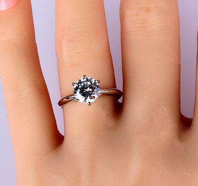 1.5 CT ROUND CUT DIAMOND SOLITAIRE ENGAGEMENT RING 14K WHITE GOLD ENHANCED 7.5