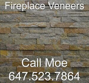 Copper Shade Classy Walling Stone Copper Thin Veneer Fireplace