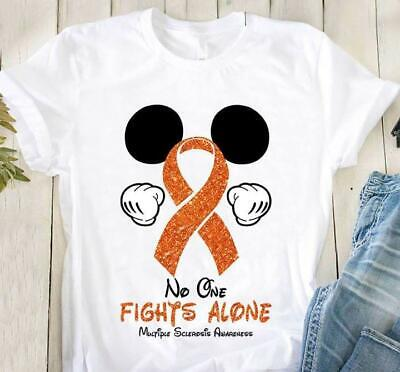 Ms Awareness Shirts (Mickey Mouse MS Awareness No One Fights Alone Men T-Shirt Cotton S-5XL)