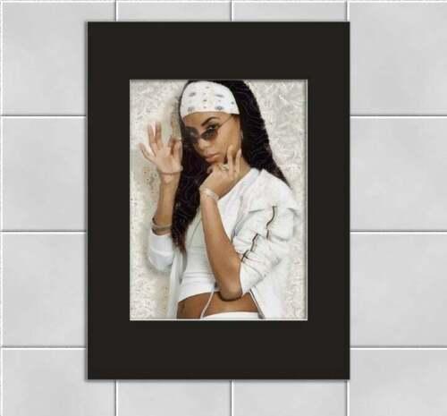 Aaliyah Singer Retro 1990s 5x7 Print 8x10 Mat
