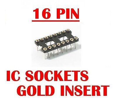 16 Pin Machine Tooled Ic Sockets Gold Insert Qty 20 New