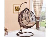 Rattan Swing Chair Hanging Garden Egg Weave Chair Patio Outdoor Indoor Furniture (Brand New)