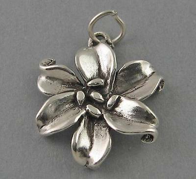 New Sterling Silver .925 Charm Pendant LILY FLOWER Garden BR447