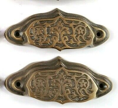 3' Brass Cabinet Cup Pull - 2 brass Ornate Apothecary cabinet drawer bin cup pull Handles 3 9/16
