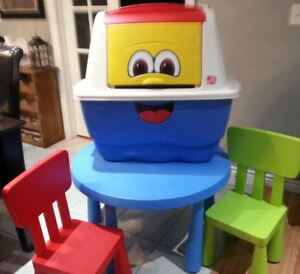 Toy Bin PLUS Kids Tables with 2 Chairs ALL - Must sell Reduced